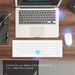 2.4G Clavier Slim, iClever Clavier Design Slim AZERTY Layout (France) Mode Standby Mode multimédia, pour ordinateur / bureau / PC / ordinateur portable / Surface / Smart TV et Windows 10/8/7 / Vista / XP - Ultra mince argent & Blanc (2.4GHz, USB, disposit image 4 produit