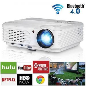 2018 Android LCD HD Bluetooth WiFi Video Projectors Home Cinema Theater 4200 Lumen Wxga Pixel with HDMI USB Composite Video VGA for Outdoor Entertainment DVD Artwork PC Laptop de la marque WIKISH image 0 produit