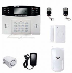 BW Système d'alarme anti-intrusion sans fil avec écran LCD Composition automatique de GSM: alarme GSM hôte+petite sirène filaire+détecteur de mouvement PIR+détecteur de porte/fenêtre+télécommande sans fil de la marque BW image 0 produit