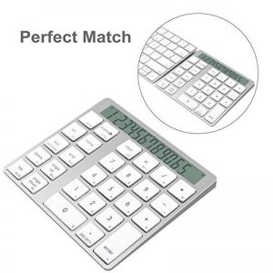 Cateck 2 en 1 clavier et calculatrice Bluetooth intelligent Combo sans fil en aluminium à 28 touches pour Mac et PC, construit double pile au lithium rechargeable intégrée de la marque Cateck image 0 produit