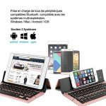 Clavier Bluetooth pliable, iEGrow F18 Universel Portable Bluetooth 3.0 Sans Fil Clavier avec Soutien pour Apple iPad iPhone IOS, Andriod, Windows [AZERTY français] Rose Or de la marque iEGrow image 1 produit