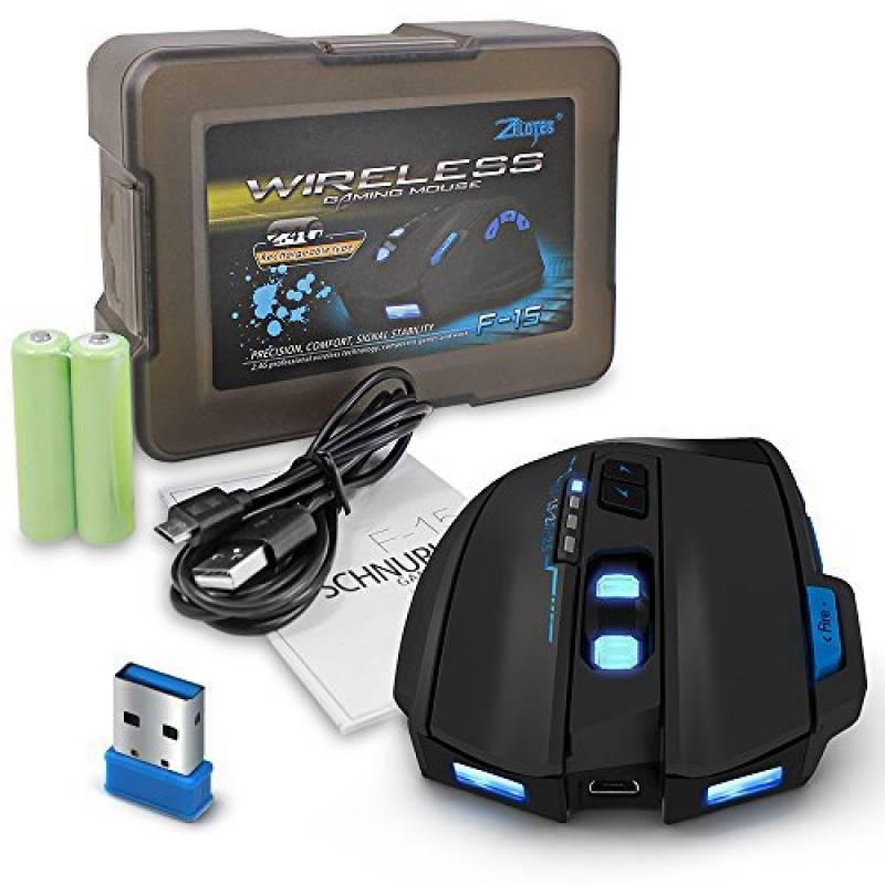 96303cbc8bc938 Souris de Jeu Filaire et sans Fil, AFUNTA ZELOTES F15 2500 DPI Réglable  Professionnel Souris Gaming avec 9 Boutons LED Optique pour PC Ordinateur  Portable ...