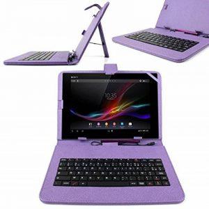 """Etui aspect cuir violet + clavier intégré AZERTY pour Samsung Galaxy Tab 3 V SM-T116NU et Lite 7.0 VE SM-T113 7"""" (Attention uniquement compatible pour ces versions) - tablette tactile 7 pouces + stylet tactile BONUS, par DURAGADGET de la marque Duragadget image 0 produit"""