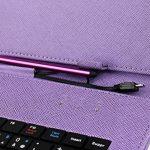 """Etui aspect cuir violet + clavier intégré AZERTY pour Samsung Galaxy Tab 3 V SM-T116NU et Lite 7.0 VE SM-T113 7"""" (Attention uniquement compatible pour ces versions) - tablette tactile 7 pouces + stylet tactile BONUS, par DURAGADGET de la marque Duragadget image 4 produit"""