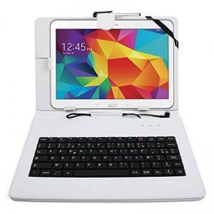 """Etui blanc + clavier intégré AZERTY pour Samsung Galaxy Tab 4 (SM-T530/T533), Tab A 9,7"""" (T550) et Tab A 10.1 (2016) T580 tablettes 10.1"""" - stylet tactile BONUS + Garantie DURAGADGET de 2 ans de la marque Duragadget image 0 produit"""