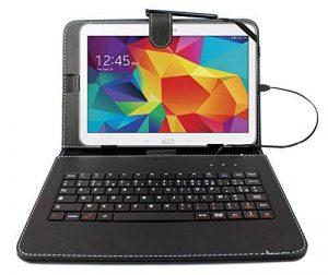 """Etui noir + clavier intégré AZERTY pour Samsung Galaxy Tab 4 (SM-T530/T533), Tab A 9,7"""" (T550) et Tab A 10.1 (2016) T580 tablettes 10.1"""" - stylet tactile BONUS + Garantie DURAGADGET de 2 ans de la marque Duragadget image 0 produit"""
