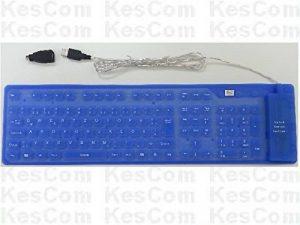 Flexible clavier PS/2USB étanche enroulable en allemand Bleu avec pavé numérique (num Lock) aussi pour le vent ows10 de la marque KesCom image 0 produit