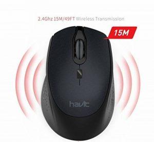 HAVIT 2.4G Souris sans fil Originale Silencieuse Optique avec Récepteur USB, DPI Réglables(1000/1500/2000), 4 Boutons Anti-bruit pour Laptop, Ordinateur Portable, PC, MacBook -Noir de la marque HAVIT image 0 produit