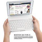 iPad Air 2 Clavier Étui, iEGrow F8S+ Bluetooth Clavier Cover avec 7 Couleurs LED Rétroéclairé, Sommeil automatique/Réveil pour iPad 6 [AZERTY français] Argenté de la marque iEGrow image 6 produit