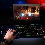 LESHP Clavier Gaming Mécanique, Clavier refroidie par Liquide, Rétroéclairage à 7 couleurs, Structure en Aluminium, AZERTY Français, Clavier gamer gaming pour PC Mac de la marque KIPOOH image 1 produit