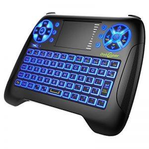 Mini clavier avec rétro-éclairage LED bleu, Dootoper 2,4 GHz Clavier sans fil / 10 mètres Plage / 76 touches (2 touches spéciales) / appropriées pour Smart TV, TV-Box Android, HTPC, IPTV, XBOX360, PC, PAD, PS3, tablettes, etc. de la marque image 0 produit
