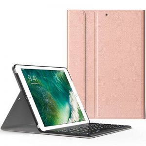 MoKo Coque pour Nouvel iPad 9,7 2017 - Etui Housse avec Clavier sans fil Bluetooth en QWERTY pour Tablette Apple Nouvel iPad 9,7 Pocues 2017, Or Rose de la marque MoKo image 0 produit