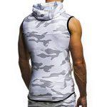 Moonuy Nouveau style Chemise à manches courtes à capuche Sans Manches pour Hommes été Gilet à Capuche Camouflage pour Homme Zipper Sleeveless Pullover Polo Hoodie T-shirt Top Blouse À capuchon (M, Blanc) de la marque Moonuy_men T-shirt image 4 produit