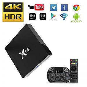 NBKMC-[2018 Dernière Version] 4K TV Box Android【2G + 16G】 Quad-Core Smart TV Box + Clavier sans fil (Couleurs modifiables) Boîtier Intelligent et 64 Bits True 4K Play H.265 WIFI 2.4Ghz X96 de la marque image 0 produit