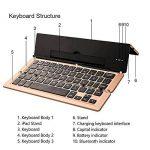 OBOR Clavier Bluetooth sans fil pliable avec support Kickstand pour iPad, iPhone, Android Smartphones et tablettes (Or) de la marque OBOR image 2 produit