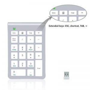 Pavé numérique Alcey Clavier Numérique sans-fil de 22 touches avec Mini récepteur USB 2.4G pour iMac, MacBook, ordinateur de bureau et portable - Argent de la marque Alcey image 0 produit