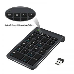 Pavé numérique Alcey Clavier Numérique sans-fil de 22 touches avec Mini récepteur USB 2.4G pour iMac, MacBook, ordinateur de bureau et portable - noir de la marque Alcey image 0 produit