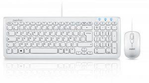 Perixx PERIDUO-303W, Ensemble Clavier et Souris filaire - USB - 7 touches de fonctions multimedia - Blanc - AZERTY de la marque perixx image 0 produit