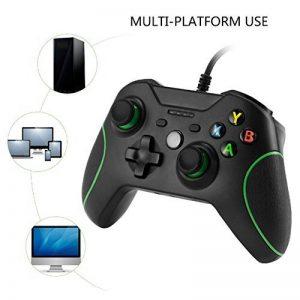 Pour Xbox One/Xbox One S contrôleur de jeu, Kobwa filaire USB double Vibration Joystick pour Xbox One (s) et PC avec prise jack 3,5mm et Micro de la marque Kobwa image 0 produit