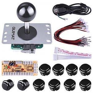 Quimat Arcade Kit ,Game handle,Kit de Jeu d'arcade de Bricolage Pour PC et Raspberry Pi 1/2/3 avec RetroPie, Joystick 5Pin, 8x 30MM et 2x 24MM Boutons < Noir > de la marque Quimat image 0 produit