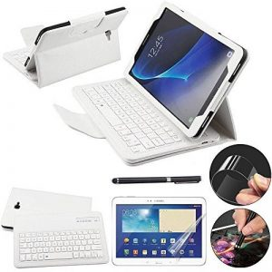 REAL-EAGLE Samsung Galaxy Tab A 10.1 Clavier Bluetooth, Clavier Tablette sans Fil Bluetooth Wireless Keyboard Cuir Smart Case Clavier Également pour Samsung Galaxy Tab A 10.1 SM-T580 T580N T585 T585N tablette. (White) de la marque REAL-EAGLE image 0 produit