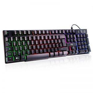 Rii RK100+ clavier 5 Couleurs LED rétro-éclairé USB Filaire AZERTY de la marque Rii image 0 produit