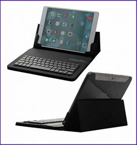 San® - Etui en cuir pu + Clavier AZERTY pour iPad Mini 4 Bluetooth 3.0 - Coque Housse Smart Cover - Housse Détachable Magnétique sans Fil - Noir de la marque San® image 0 produit