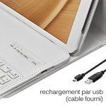 Seluxion - Etui de Protection Blanc avec Clavier Français Azerty Connexion Bluetooth Pour Tablette Asus Zenpad 10 Pouces [Modèles Asus Zenpad Z300C - Z300M - Z301M - Z301ML. Dimensions 251,5 x 172 x 8,3mm] de la marque KARYLAX image 3 produit