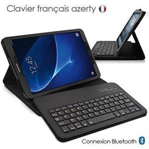 Seluxion - Etui de Protection Noir avec Clavier Azerty Connexion Bluetooth Pour Tablette Samsung Galaxy Tab E 9.6 Pouces [Modèles Samsung Galaxy Tab E 9.6 SM-T560 / SM-T561 / SM-T565. Dimensions 241.9 x 149.5 x 8.5 mm] de la marque KARYLAX image 0 produit