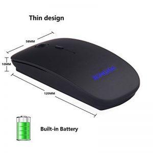 Souris rechargeable sans fil de 2,4GHz avec batterie 550mAh intégrée BONGEM®, boutons silencieux ultra-minces pour ordinateur portable avec nano récepteur de la marque BONGEM image 0 produit
