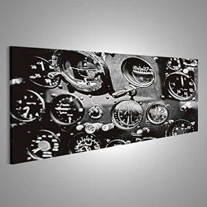Tableau Tableaux sur toile Instruments De Cockpit D'Avion En Noir Et Blanc Image sur toile - Images - Photo - Poster - Impression - déco murale - Format panoramique de la marque islandburner image 0 produit
