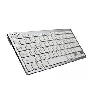 Zienstar Clavier Bluetooth sans fil ultra mince pour tablettes Android, iPad, Iphone et Windows Tablet -AZERTY Layout (blanc argenté) de la marque Zienstar image 0 produit