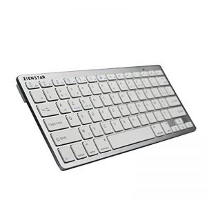 Zienstar Clavier Bluetooth sans fil ultra mince pour tablettes Android, iPad, Iphone et Windows Tablet -AZERTY Layout (blanc argenté) de la marque Zienstar image 0 produit